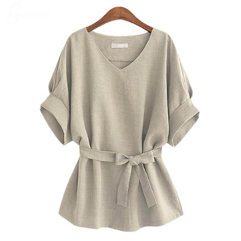 -Summer-5XL-Plus-Size-Women-Shirts-Linen-Tunic-Shirt-V-Neck-Big-Bow-Batwing-Tie