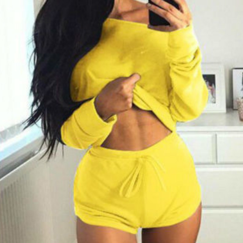 Summer 2019 Sexy Women Two Pieces Slash Neck Hoodies Tops Cotton Drawstring Shorts Lady Spring Casual Suit Plus Size Mujer