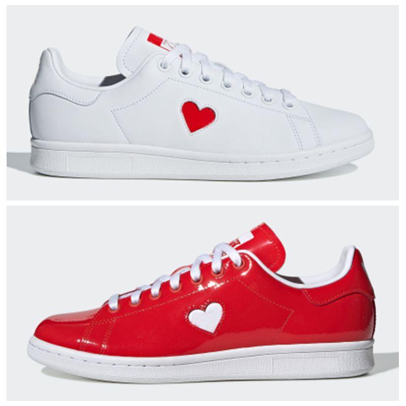 2019 Stan Smith Valentine Day Shoes Lumineux et audacieux avec un brevet  brillant Oubliez les fleurs en cuir rouge Chaussures un petit graphique  coeur ...