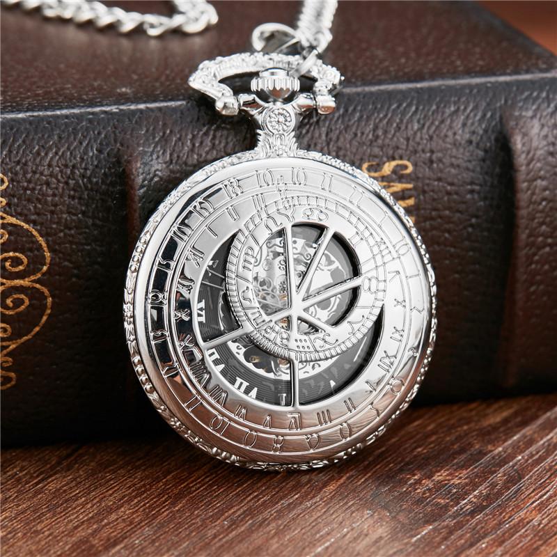 Dr. Who mecânica Pocket Watch Fob Cadeia Sliver The United Kindom Relógio Oco Gravar Mens Relógios para Mulheres Homens