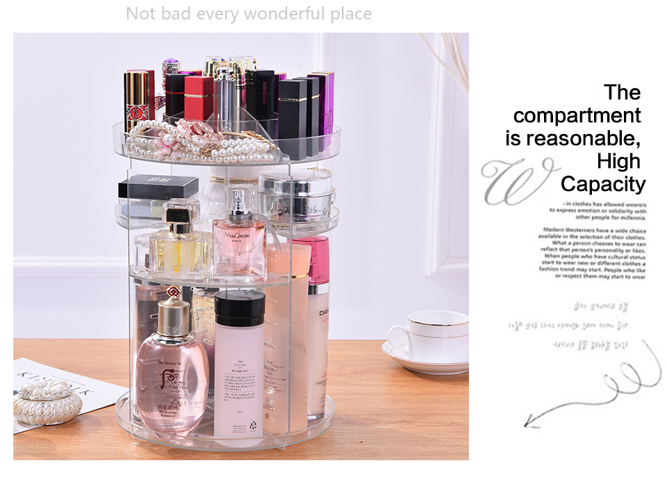 Makeup Organizer 360 Rotating Adjustable Storage Box Plastic Clear AcrylicTransparent Box Jewelry Necklace Nail Polish Cosmetic (2)