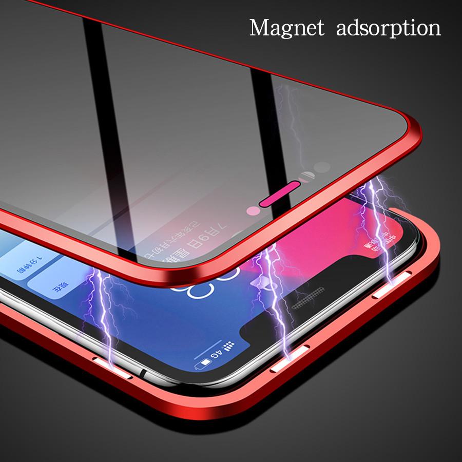 Estuche de metal magnético de privacidad para Iphone Xs Max Xr X 8 7 Plus Cubierta de vidrio templado antirrobo Imán Doble vidrio lateral 360 Caso
