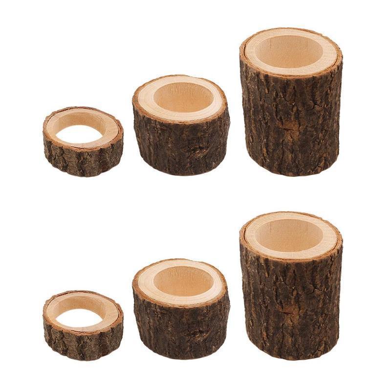 Holz Kerzenständer Kerzenhalter Tischdekoration Holz Sukkulenten Blumentopf Rinde Handwerk Handgefertigte Tisch Ornamente D19011702