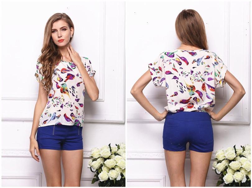 Summer Style Big Dots Women Blouse 19 Type Large Size Woman Printing Blouse Shirt Short-sleeved Chiffon Blusas Femininas Roupas (1)