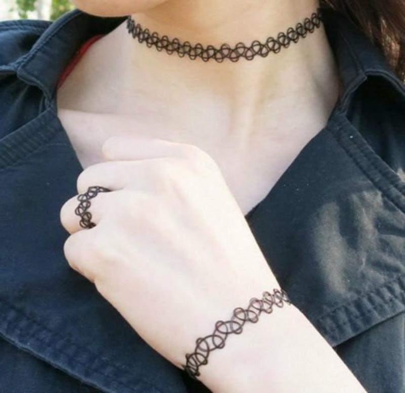 12pcs estiramiento tatuaje gargantilla collares mujeres niñas encanto punkQM