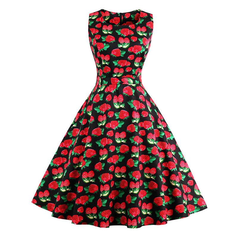 Kostlish 9 Style Print Summer Dress Women 2017 Sleeveless Swing 1950s Hepburn Vintage Tunic Dress Elegant Party Dresses Sundress (13)