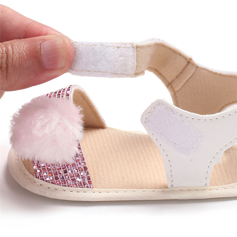 3 Color Summer Baby Girl Shoes Newborn Toddler Baby Girl Soft Ball Sequins Sandals Soft Sole Anti-slip Shoes Girl Sandals JE14#F (14)