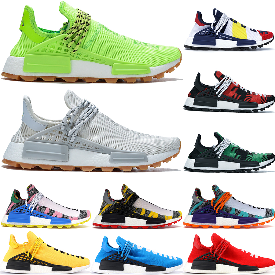 With Stock X 2020 Human Race NMD R1 Hu Pharrell Williams Yellow Solar Pack Red Mother Oreo Japan Trainers Womens Running Shoes 36 46