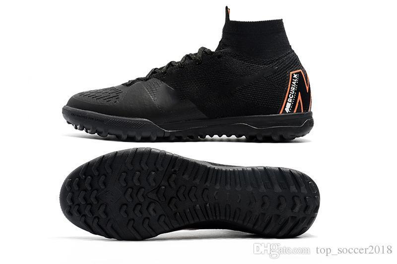 Top Full Black Soccer Cleats Cristiano Ronaldo Turf Football Boots Original Mercurial Superfly V Mens Indoor Soccer Shoes