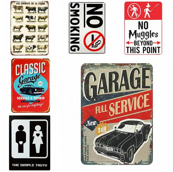 VORCOOL Motocicleta Garaje Vintage Carteles Decorativos Esta/ño Metal Hierro Coche Signo Pintura para Pared Home Bar Cafeter/ía