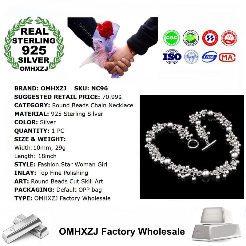 OMHXZJ Wholesale Personality Fashion OL Woman Girl Party Gift Silver Grape String 925 Sterling Silver Pendant Necklace NC96