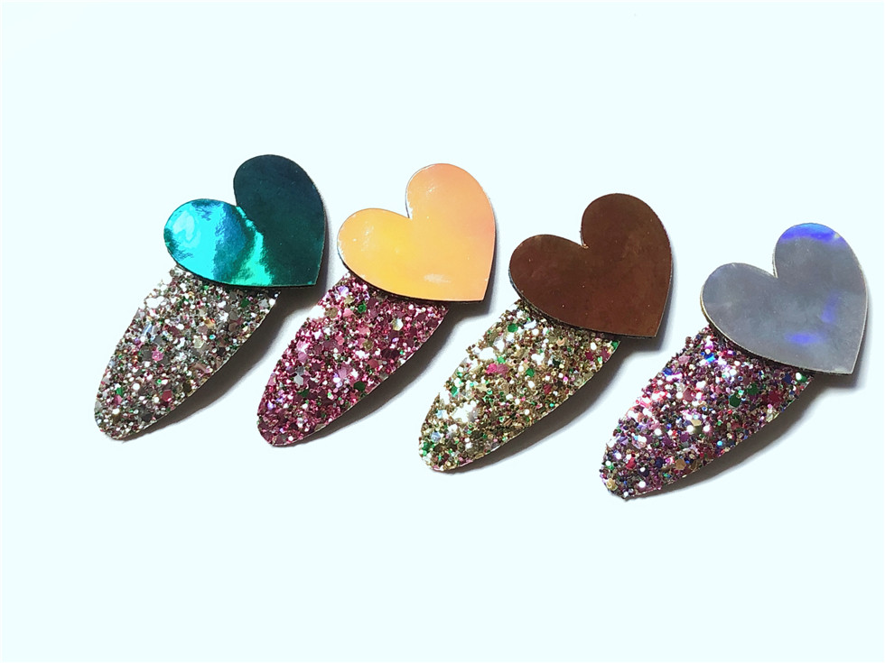 Boutique ins 20 stücke Mode Niedlich Glänzend Laser Herz Snap Clips Glitter Liebe Herz Haarspangen Haarnadeln Prinzessin Haarschmuck