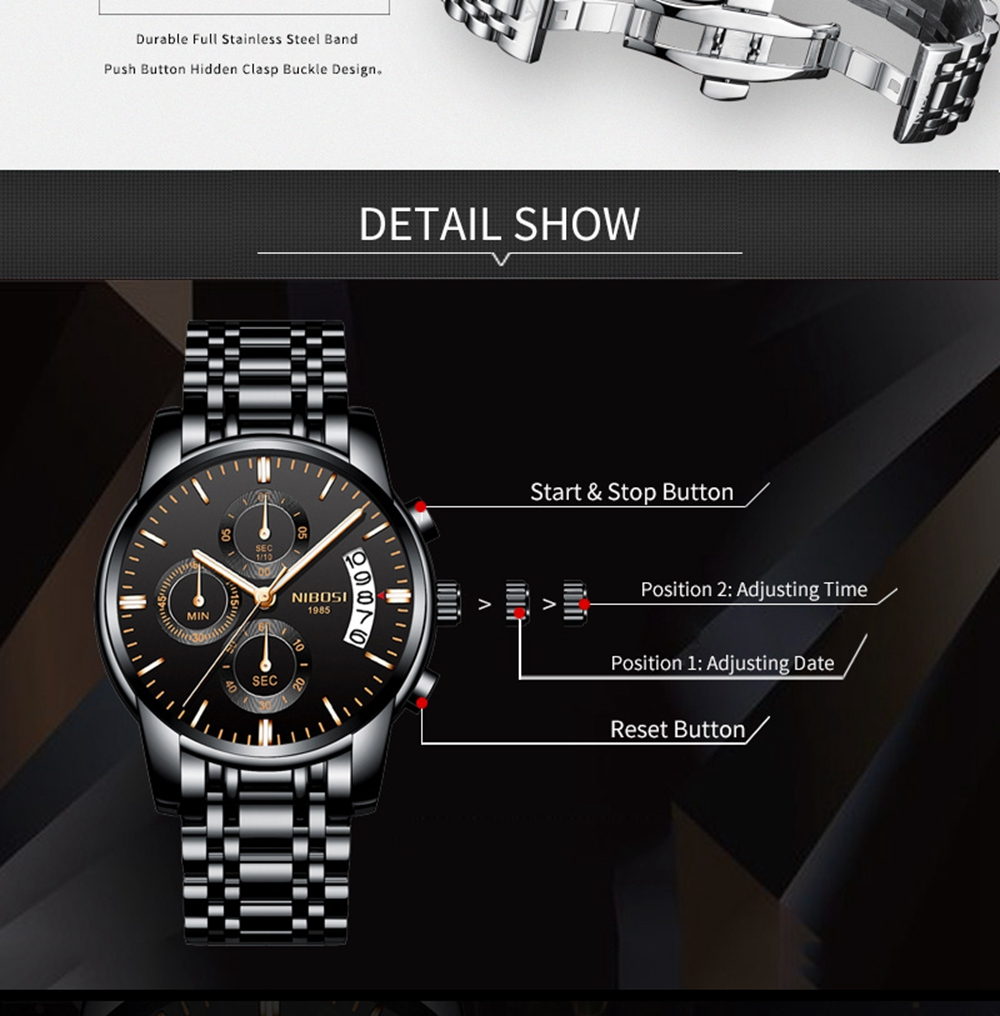 NIBOSI Mens Watches Top Brand Luxury Premium Luxury Fashion Luminous Waterproof Watch High-end Calfskin Pure Steel Strap Blue (4)