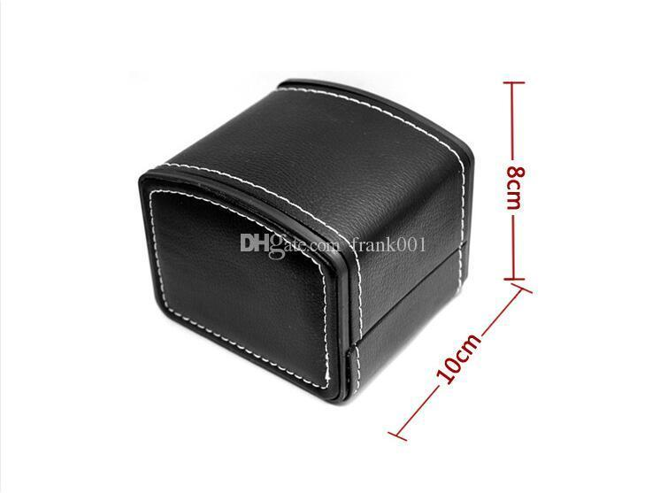 Fashion Watch Box Faux Leather Square Jewelry Watch Case Display Gift Box with Pillow Cushion free ship