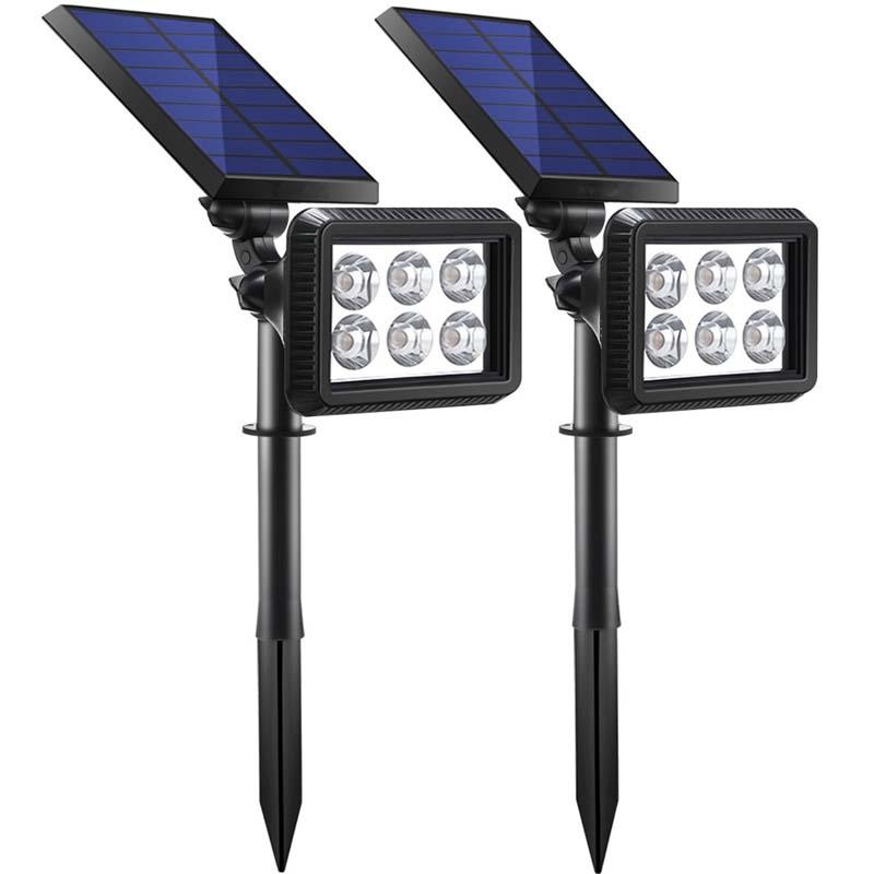4LED Solar Gartenscheinwerfer Spotlight Outdoor Rasen Landschaftsbeleuchtung