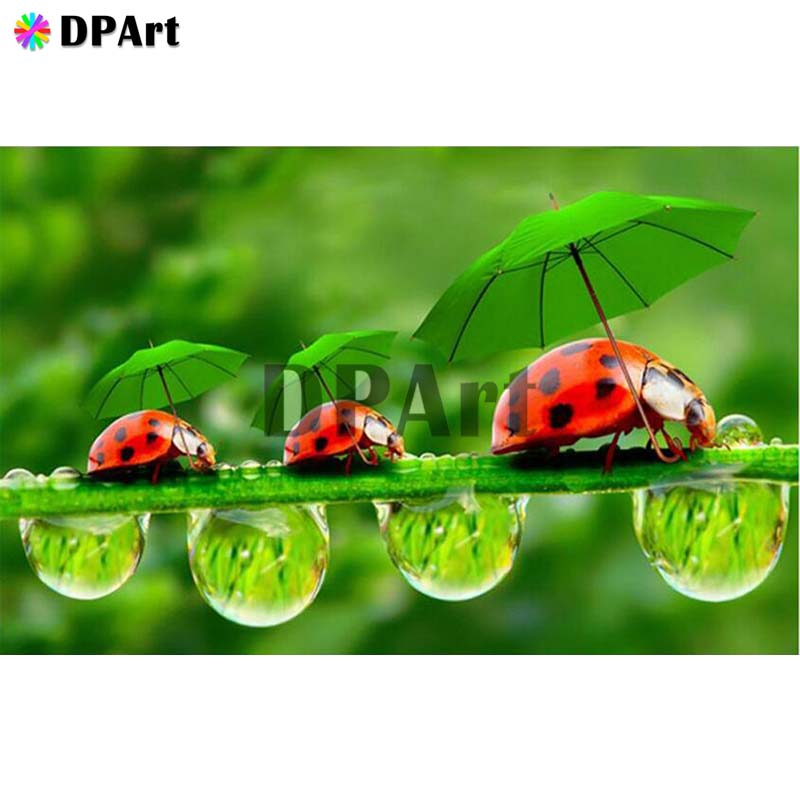 Diamond Painting 5D Full Square/Round Drill Ladybug Water Drops Insect Daimond Embroidery Painting Cross Stitch Mosaic M881