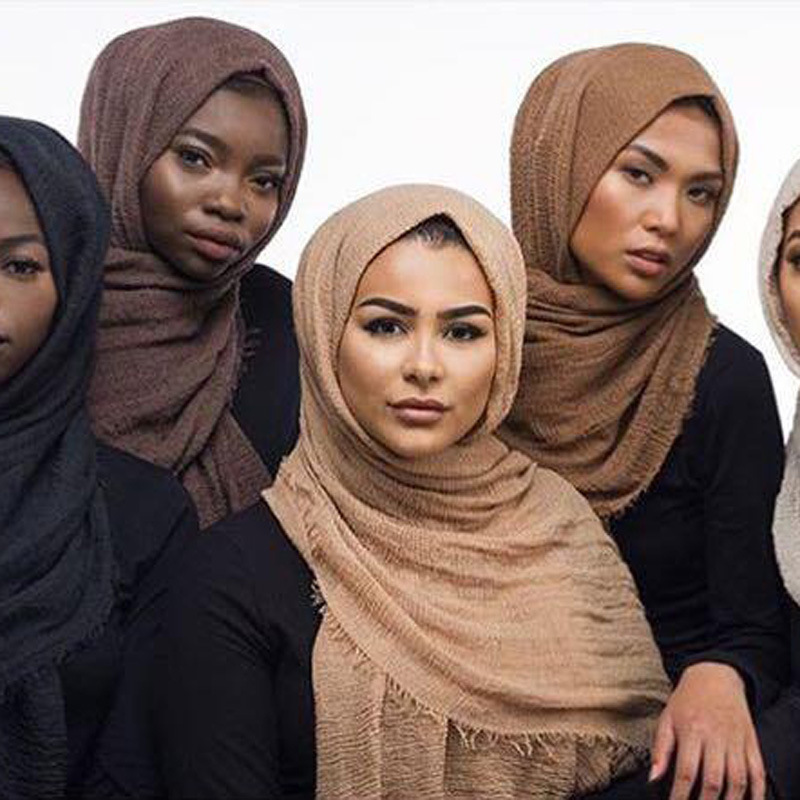 Soft Pleated Cotton Women Hijab Scarf Head Shawl Scarfs Wrap Cape Headscarf bufanda mujer Autumn Winter 56 Solid Color 100*180cm C19011001