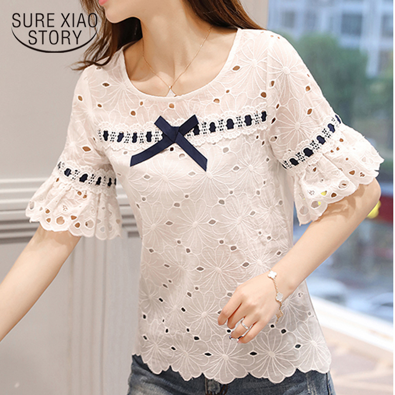 Summer Hollow Blouse Shirt Women Tops And Blouses Fashion 2019 Causal Women Blouses Short Sleeve Top Female Clothes 0460 40 Y190509