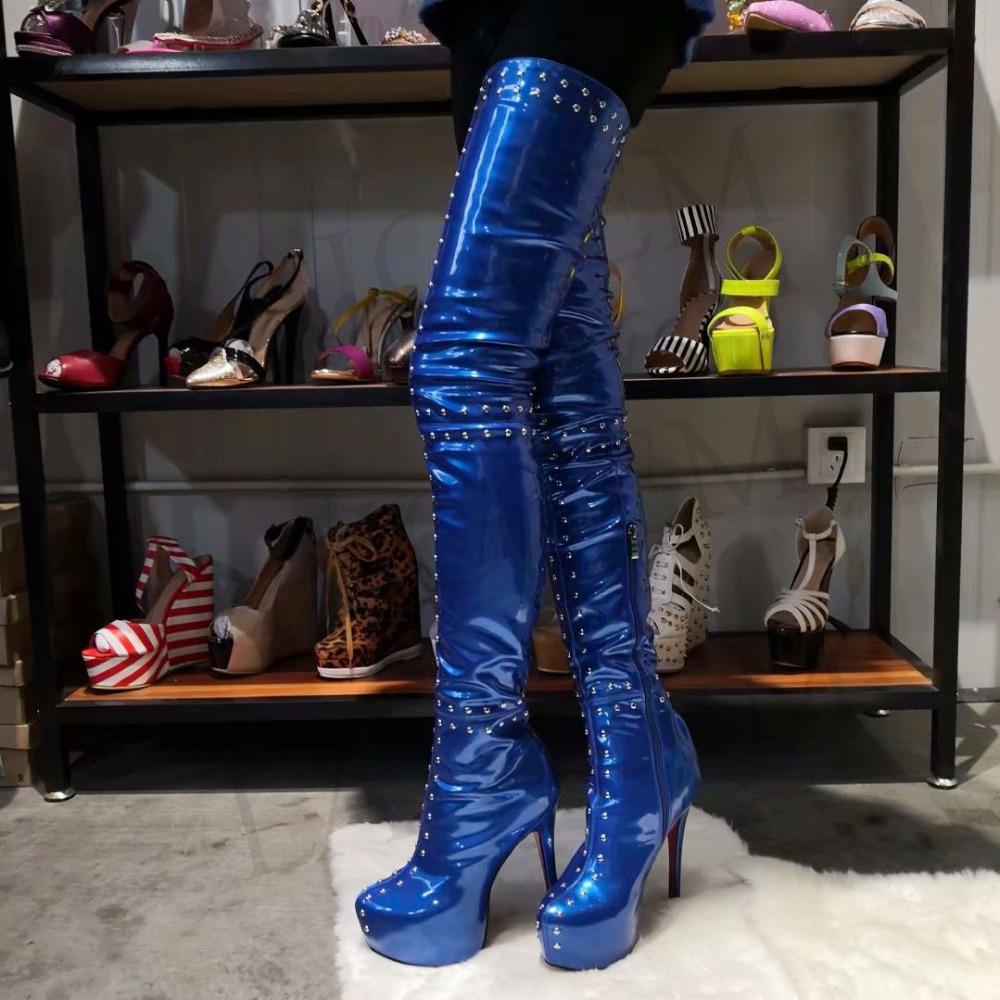Großhandel LAIGZEM TRENDY Damen Overknee Stiefel Plattform Nieten Party Heels Schwarz Blauer Burgunder Stiefel Botines Mujer Big Size 4 19 Von Legzen,