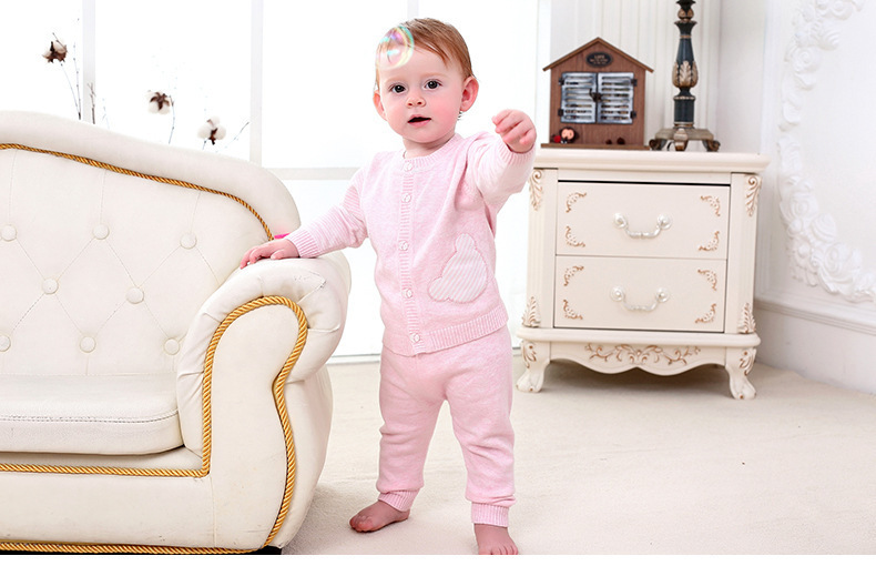 Baby Girls Clothes 2019 Autumn Spring Girls Sweater Suits Babys Set Casual Cotton Knitting Cardigan Jacket Pants Outfit