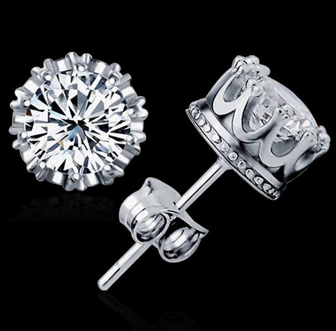Fashion 925 Sterling Silver Crown CZ Simulated Diamond Stud Earrings For Women Men Wedding Jewelry Gift