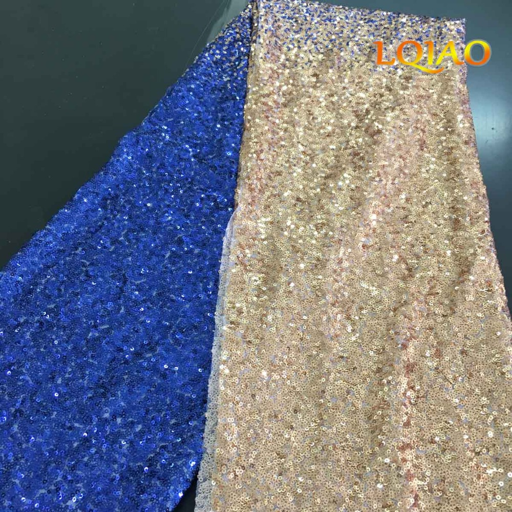 Royal Blue Gold Sequin Fabric-1