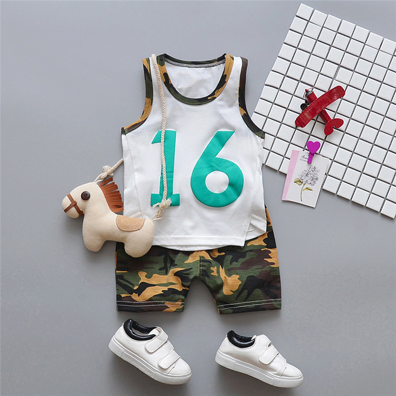 2PCS Summer Baby Sets Boy Toddler Baby Boy Sleeveless T-shirt Vest Tops+Camouflage Shorts Pants Sets Baby Boy Clothes M8Y24 (7)