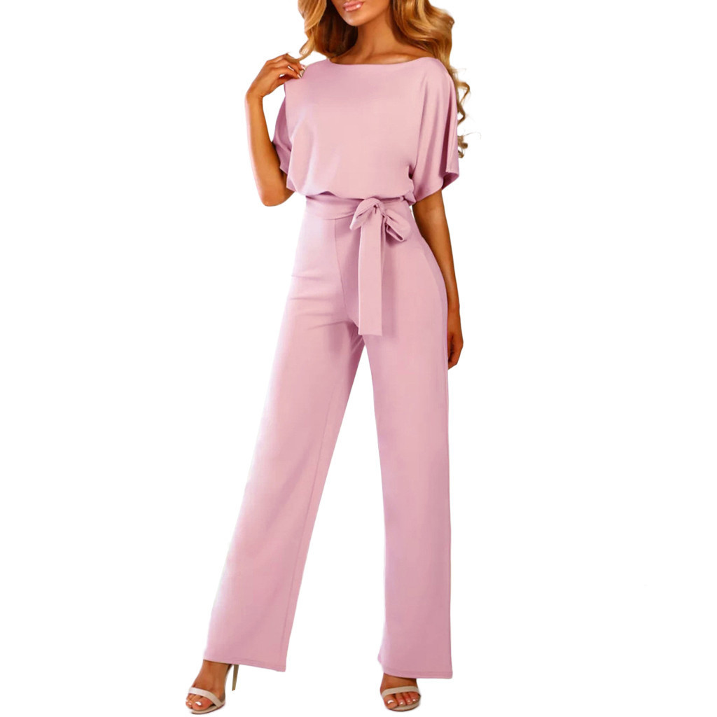 Overalls For Women Jumpsuit Short Sleeve Playsuit Clubwear Straight Leg Jumpsuit With Belt Romper Women 2019 Y19051501