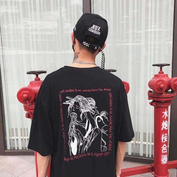 Japan Geisha Manga Graphic Print Korean Streetwear Loose T-shirt Summer Tee T Shirt Harajuku Top 2019 Plus Size Women/men C19041001