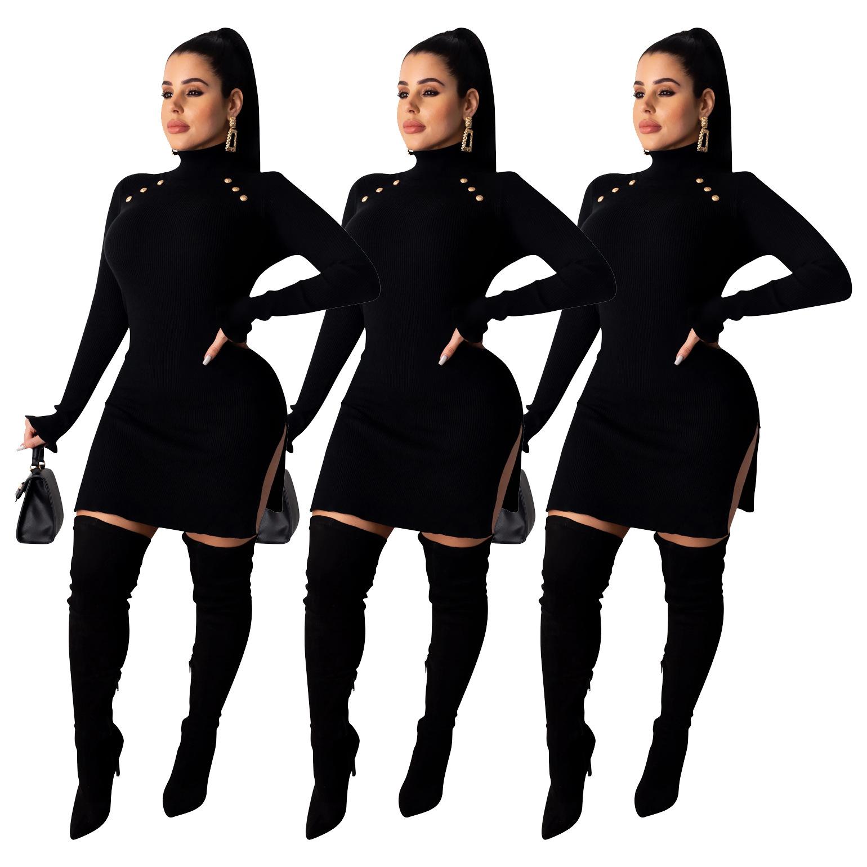 schwarz-elegante frauen-stehkragen kurz kleider party buttons flare logn  sleeves double side split sexy figurbetontes kleid nachtclub