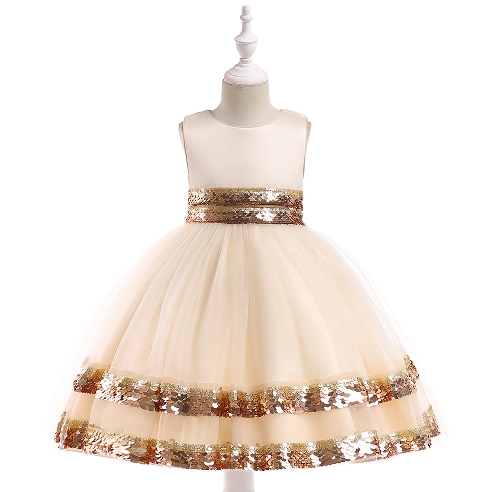 2019 New Arrival Sparkly Jewel Neck Champagne Flower Girl Dresses for Wedding with Sequins with Bow Back Little Girl Prom Dresses