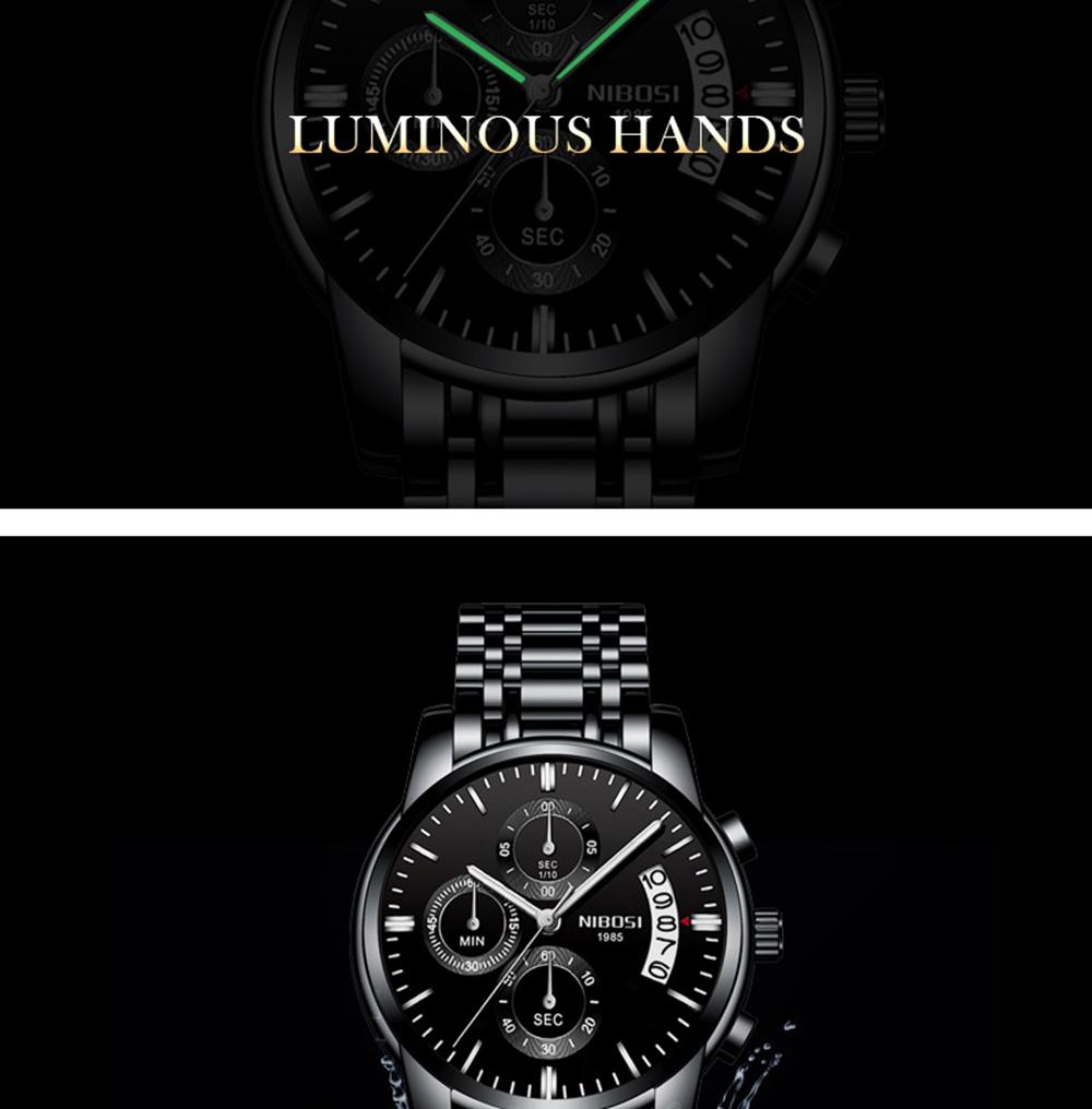 NIBOSI Mens Watches Top Brand Luxury Premium Luxury Fashion Luminous Waterproof Watch High-end Calfskin Pure Steel Strap Blue (13)