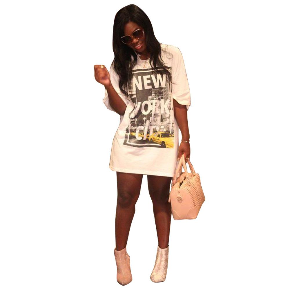 Vestido de manga corta para mujer 2019 Verano Camiseta de manga corta Vestido parche Estampado suelto Vestido de verano