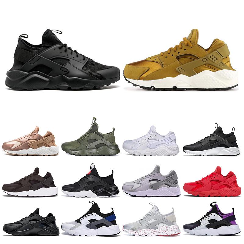 2019 Huarache 4.0 1.0 Running Shoes Classical Triple White Black gray gold red men women huarache shoes sports Sneakers size 36 45