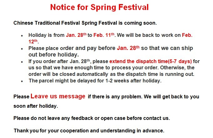 Notice for Spring Festival