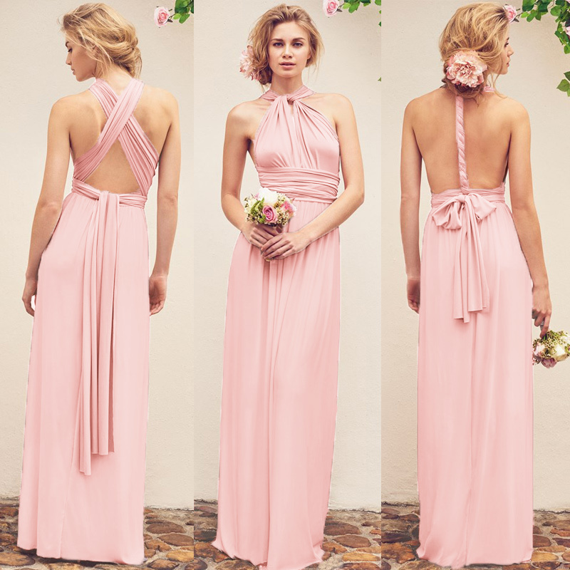 b8371211a8 2019 Anself Sexy Long Dress Bridesmaid Formal Multi Way Wrap Convertible  Infinity Maxi Dress Pink Hollow Out Party Bandage Vestidos J190530 From ...