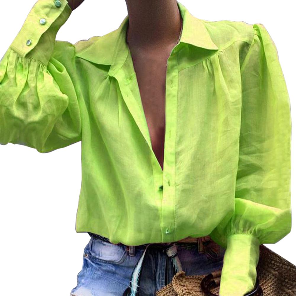 Sonbahar Seksi Çentikli Yaka Ofis Bayanlar Gömlek Kadın Casual Gevşek Fener Uzun Kollu Gömlek Katı Düğme Kadın Bluzlar Tops