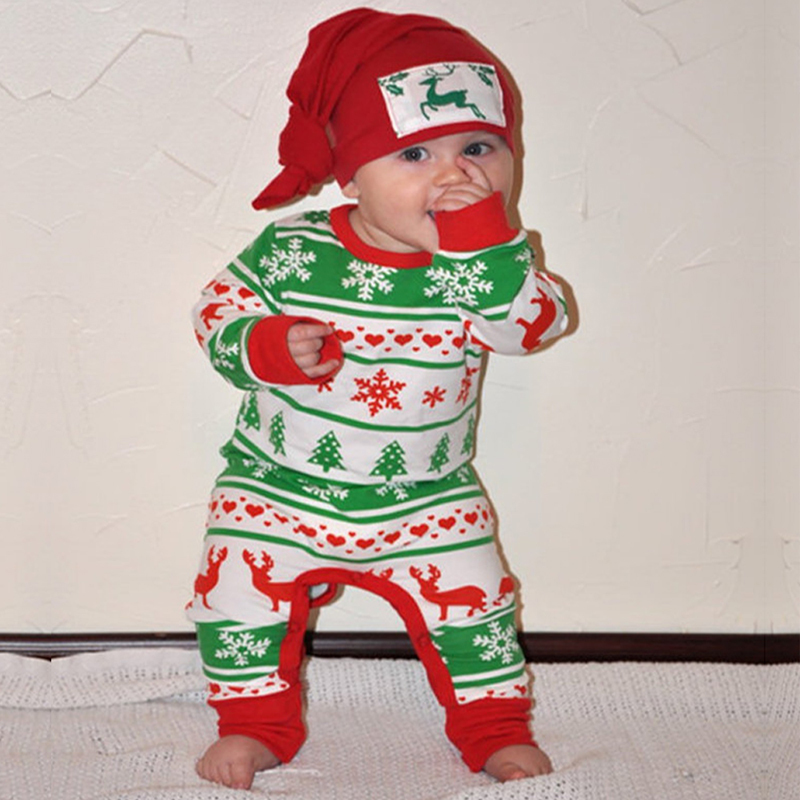 2018 Christmas clothes festival gift toddler baby boy girl jumpsuit cute cartoon unisex newborn wear Rompers COTTON