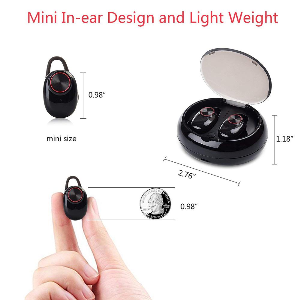Bluetooth-Kopfhörer mit V5.0 + EDR-Stereoton V5-Funkkopfhörer Eingebautes Mikrofon Freisprechen Bluetooth TWS-Ohrhörer