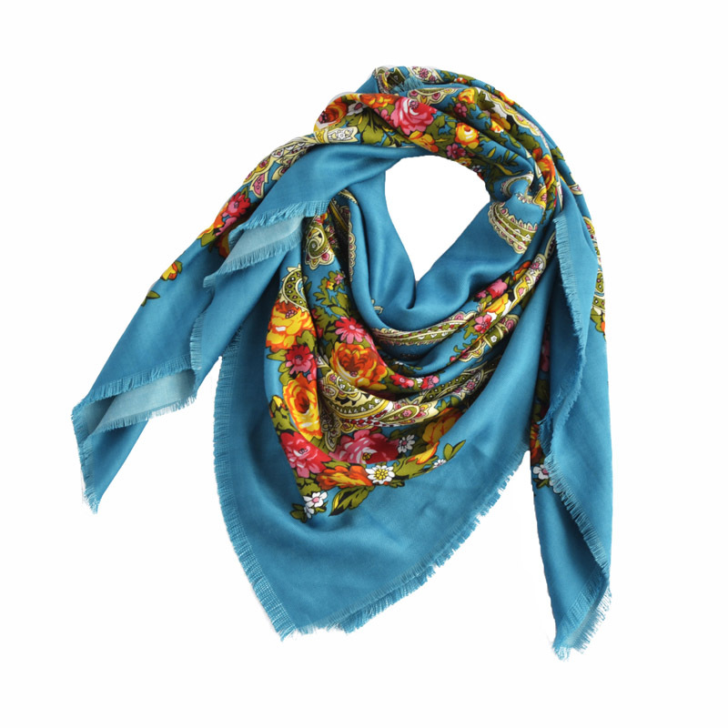 wholesale Brand Designer Floral Print Scarf for Women Handkerchief Cotton Scarf Russian Ethnic Hijab Square Blanket Scarf Shawl