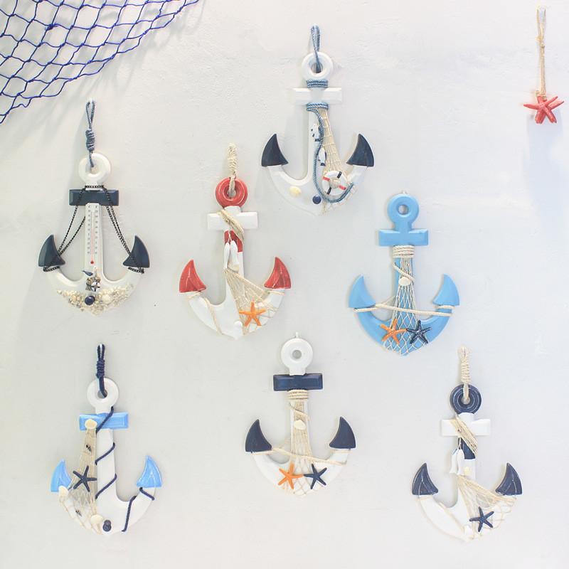 Playa N/áutica Barco De Madera De Direcci/ón Buque Decoraci/ón De La Pared De La Rueda De Color Azul Oscuro En Casa
