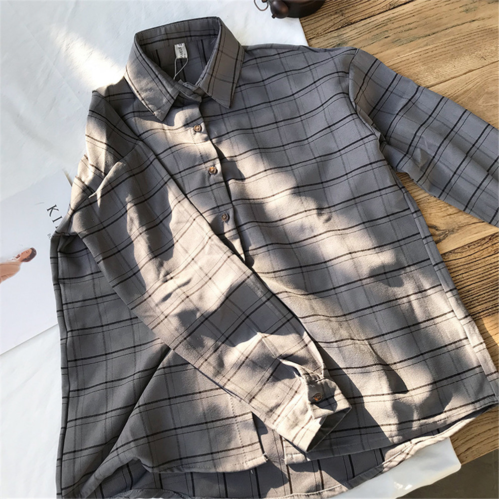 Loose cotton Checkered plaid College blouses shirt Cage female long sleeve Casual women Blouse shirt office lady tops (17)