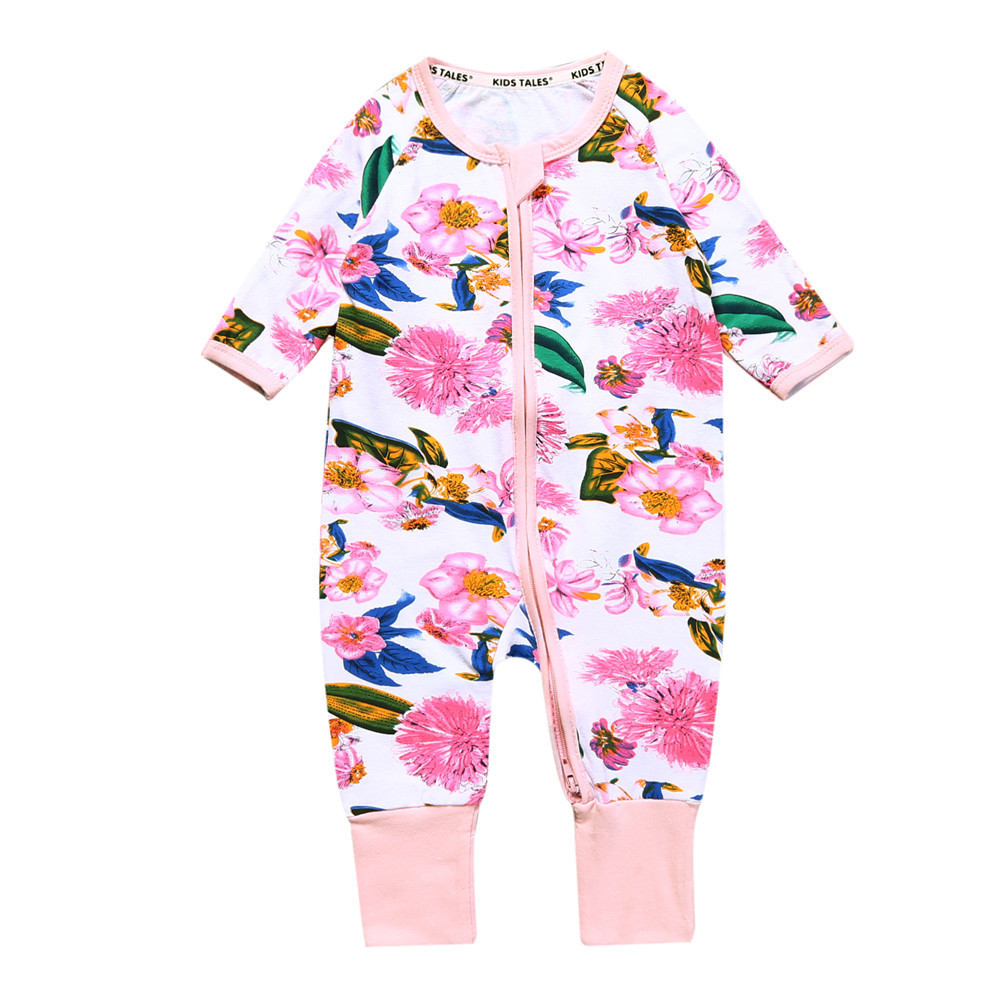 howe wear newborn clothes long sleeve o-neck one-piece floral print romper with zipper baby boy girl pajamas cotton 6-24m
