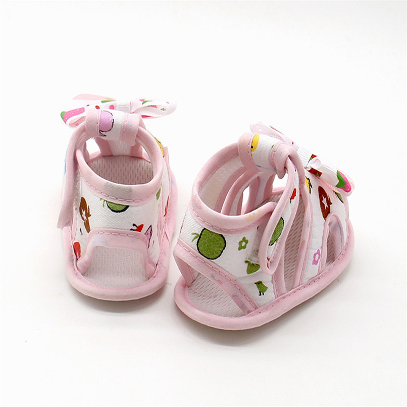 4 Color Summer Girls Shoes Newborn Infant Baby Girls Bow Print Soft Sole Toddler Anti-slip Shoes First Walker NDA84L23 (15)