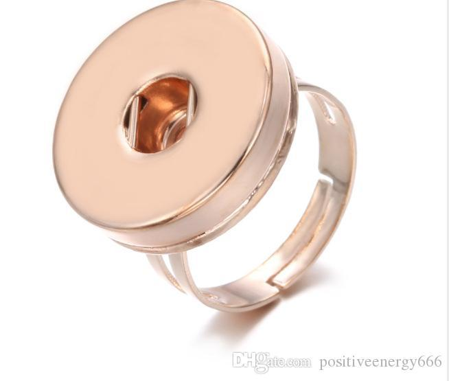 Newest Snap Jewlery gold silver 18mm Snap Button Ring metal ginger snap rings for Women men DIY gifts