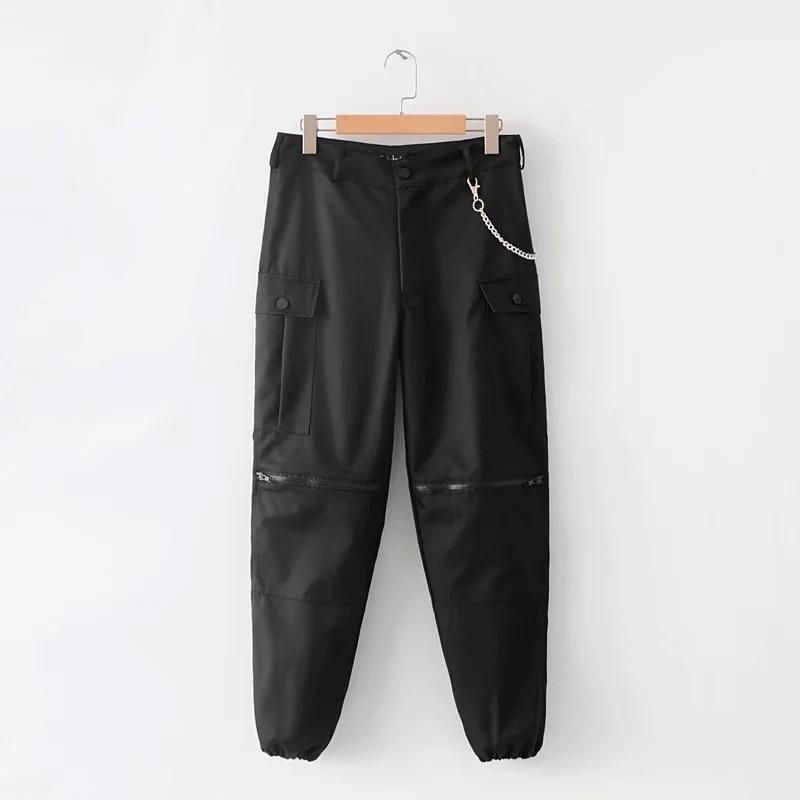 Women High Waist Chains Sweatpants Khaki Cargo Pants Joggers Long Black Zipper Spliced Trousers Streetwear Harem Pantalon Female C19040801