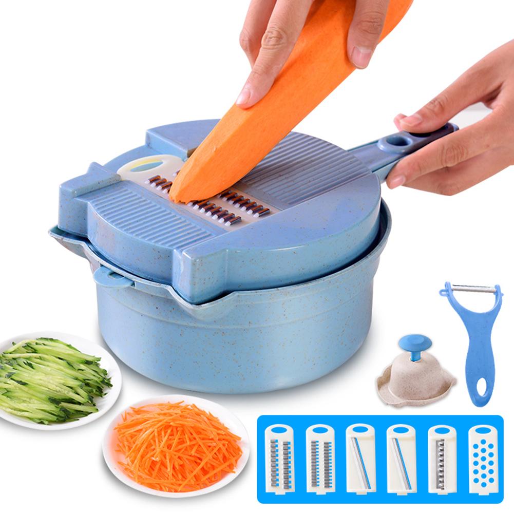 15 In 1 Mandoline Slicer Vegetable Cutter Garlic Crusher Fruit Potato Chopper Dicer Shredder Multifunctional Kitchen Accessories