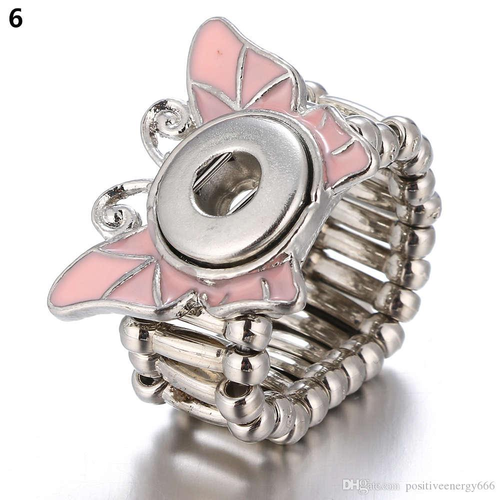 Snap Ring for 12 MM Snaps Metal Silver Ginger Snap Rings Snap Jewelry Button Adjustable Ring