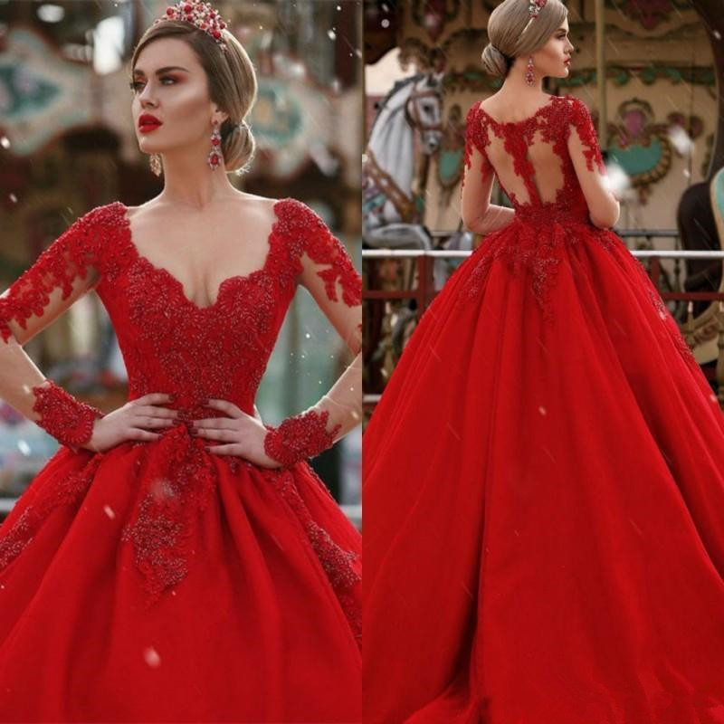 Red Ball Gown Long Sleeves Lace Wedding Dresses Plunging V Neck
