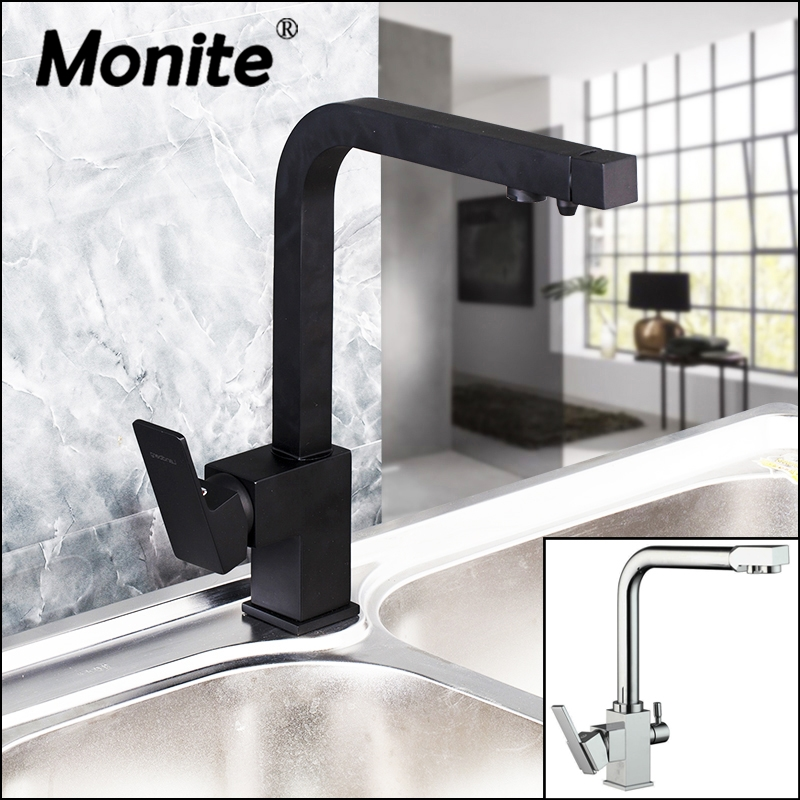 Chrome Polish 360 Rotated Black Painting 2 Spouts Stream Swivel Water filtration Spray Kitchen Basin Sink Water Tap Mixer Faucet